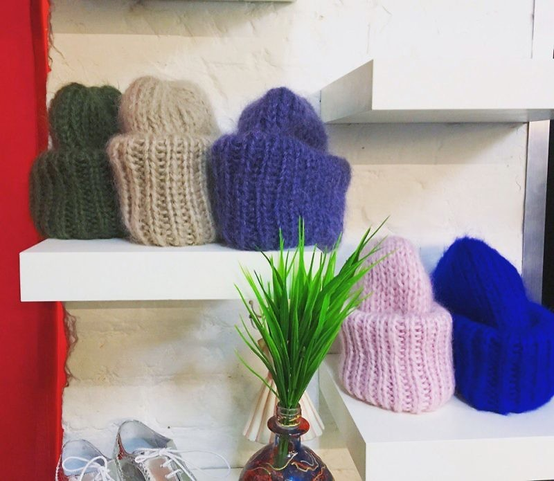 вязаные шапки из мохера