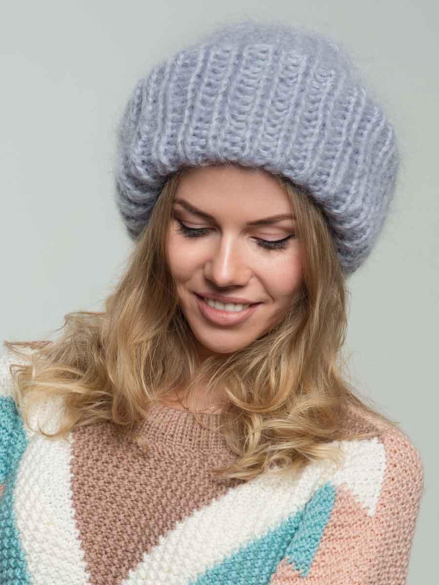 купить стильную вязаную шапку из мохера в интернет магазине