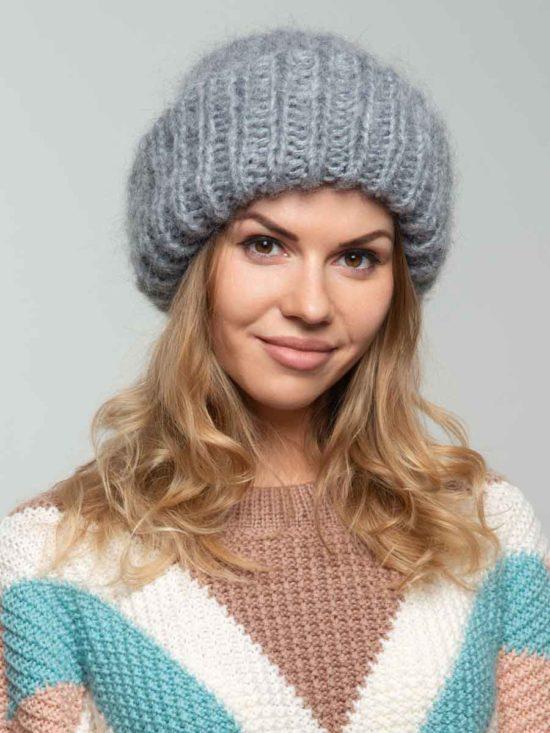 Вязаная шапка цвета «Светло-серый»