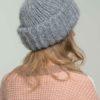 Объемная вязаная шапка из мохера с отворотом светло-серого цвета