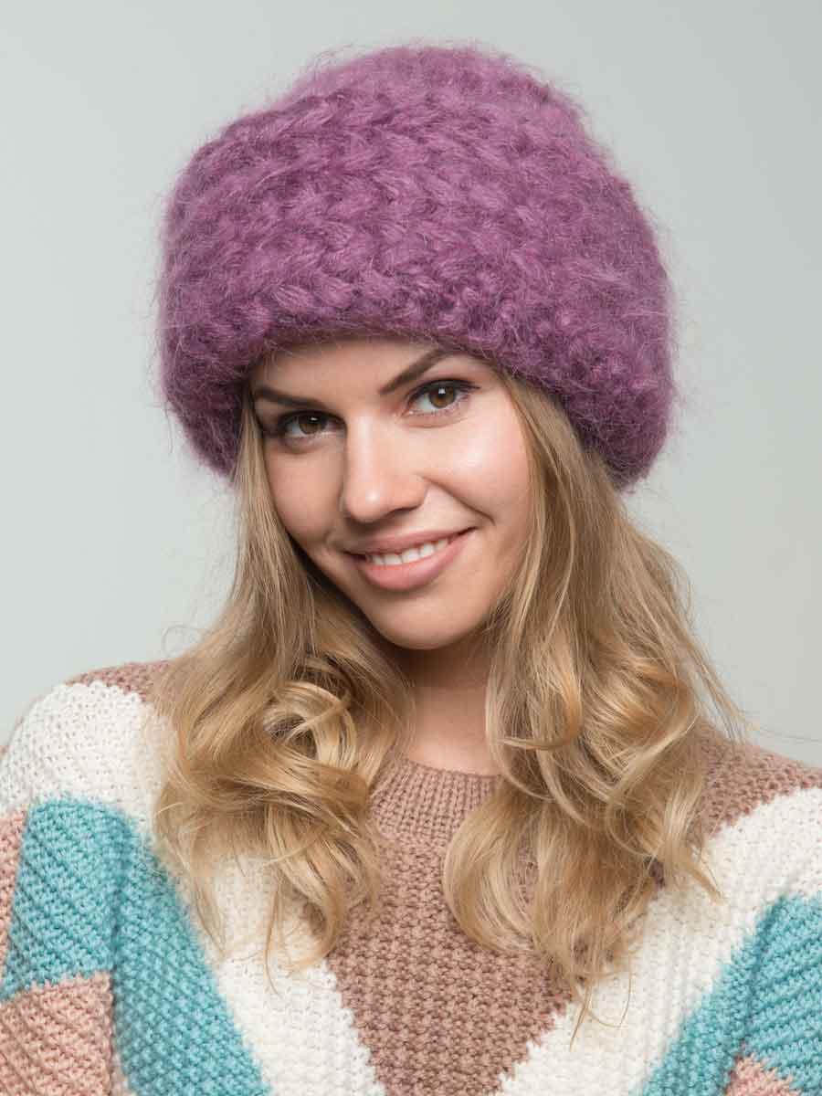 шапка из мохера с косами цвета спелая вишня интернет магазин