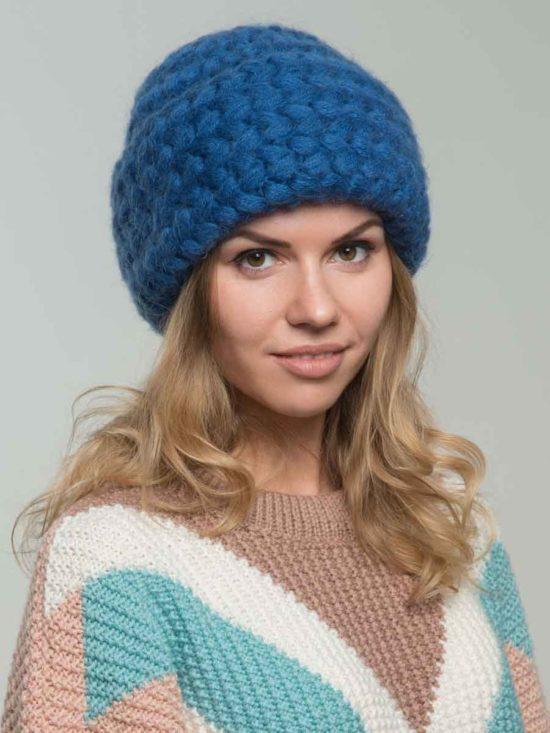 Шапка из мохера с косами цвета «Синий»