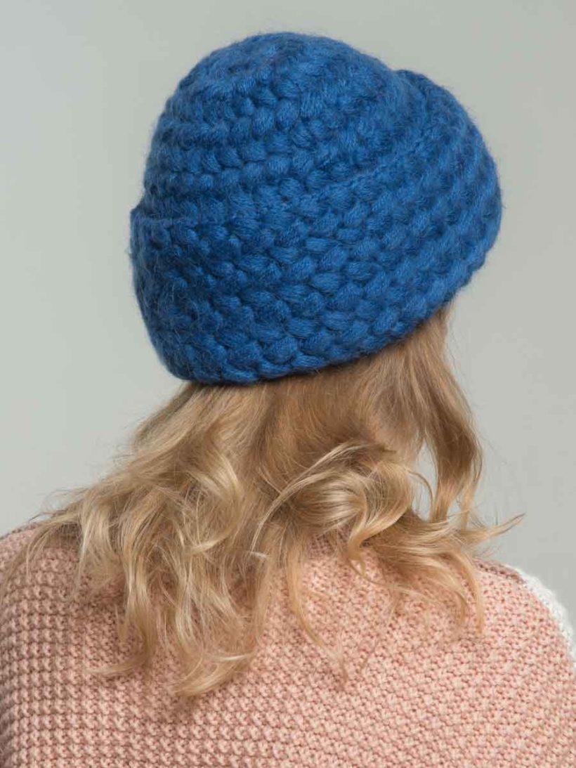 вязаная шапка с косами из мохеровой пряжи в интернет магазине