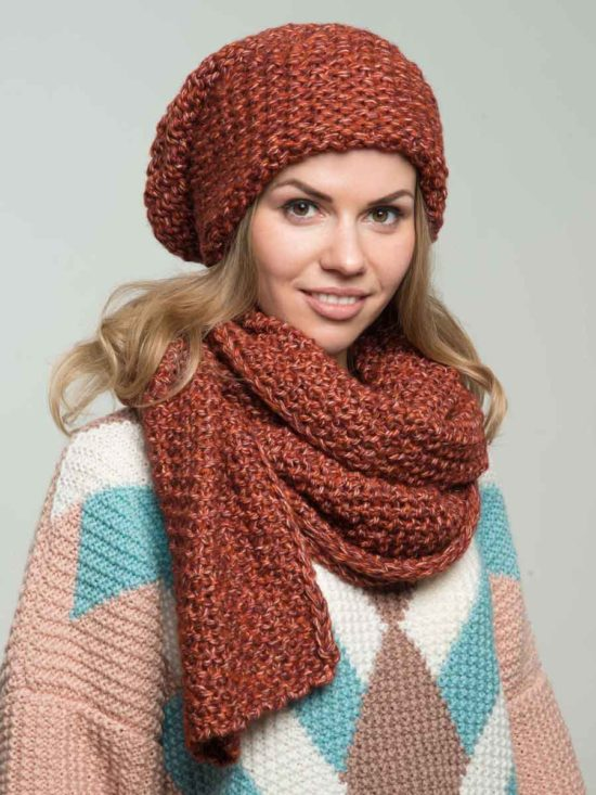 Комплект шапка и шарф(рыжий)