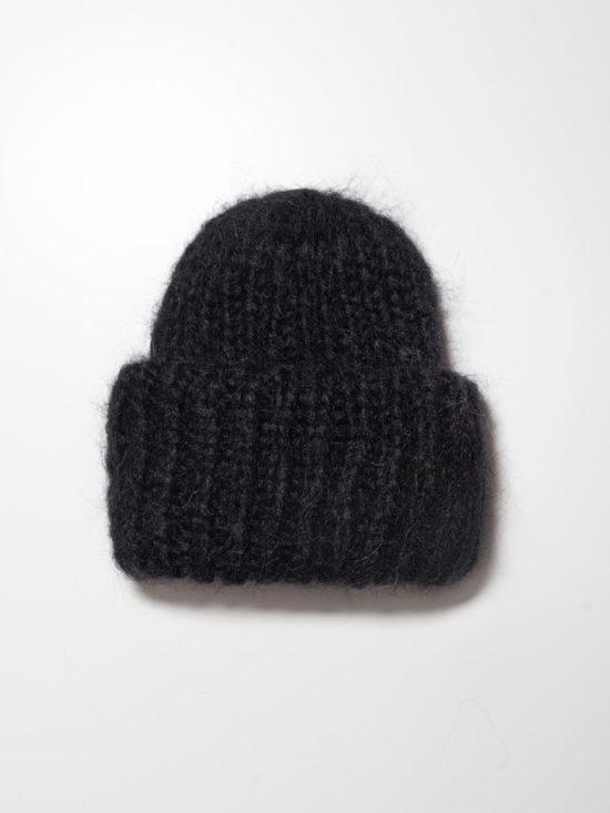 Вязаная шапка из мохера цвета «Черный»